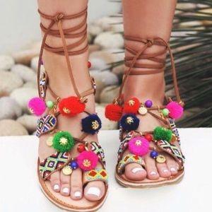 Chinese Laundry Leg Tie Pom Pom Sandals
